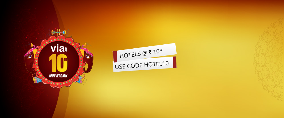 Via.com 10th year anniversary - Book 2 hotel nights at price of 1 + Rs 10 (No max discount limit)