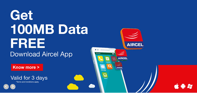 Aircel– Just Download Aircel App & Get 100MB 3G Data Absolutely Free