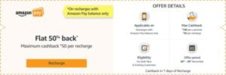 Amazon Recharge Offer - Flat 50% Cashback up to Rs 100 All Users