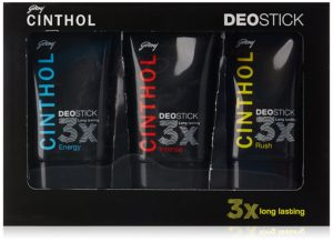 Buy Cinthol Deo Stick for Men Combo, 40g (Pack of 3) for Rs.149 only