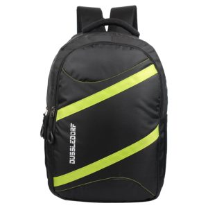 Amazon- Buy Dussledorf Polyester 18 Liters Black and Green Laptop with 2 Compartment Backpack at Rs 399