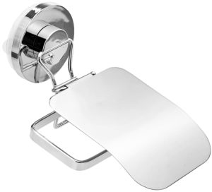 Miamour Push-Lock Steel Toilet Tissue Holder, Silver
