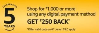 Amazon Rs 250 Cashback on purchase of Rs 1000 or more
