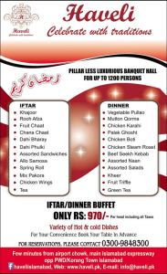 Haveli Islamabad Iftar Deal 2013 Buffet Dinner Menu