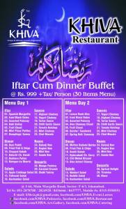 Khiva Restaurant Iftar Deal 2014 Islamabad Dinner Buffet Menu