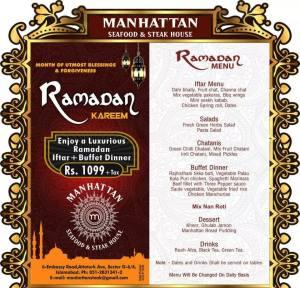 Manhattan Seafood & Steak House Islamabad Iftar Deal 2014 Buffet Dinner Menu