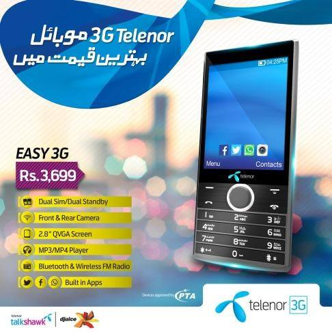 Deals in Pakistan » Telenor Easy 3G Offer 3G Mobile in Rs  3699