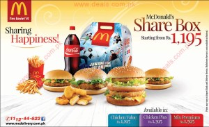 McDonald's Share Box Deals 2015 Pakistan