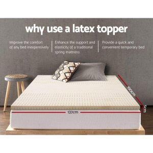 Giselle Bedding Pure Natural Latex Mattress Topper 7 Zone 5cm Double