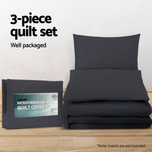 Giselle Bedding King Size Classic Quilt Cover Set - Black