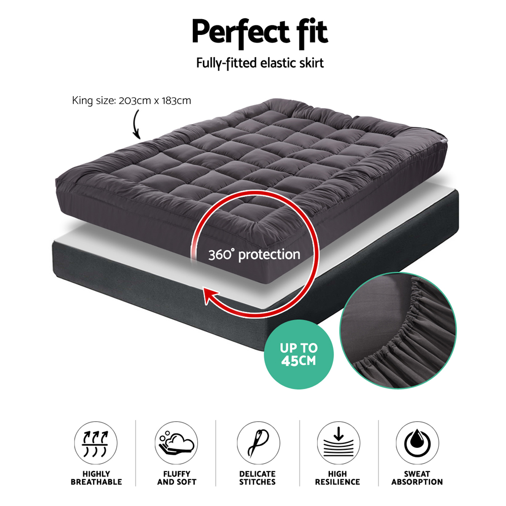 Giselle King Mattress Topper Pillowtop 1000GSM Charcoal Microfibre Bamboo Fibre Filling Protector