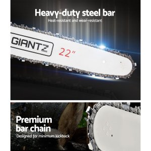 GIANTZ 58cc Commercial Petrol Chainsaw 22 Bar E-Start Chains Saw Tree Pruning