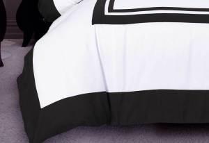 Queen Size Modern White Black Rectangle Pattern Quilt Cover Set (3PCS)