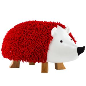 Lira Red Hedgehog Ottoman With Solid Wood Footrest