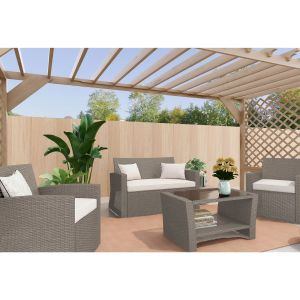 Corby 4 Seater Rattan Outdoor Sofa Lounge Set Natural Grey