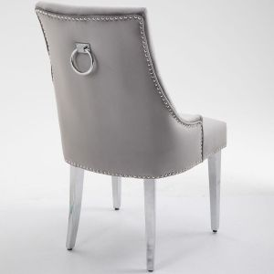 Little Lady Grey Bar Stool Quilted Velvet with a Silver-toned Ring Knocker