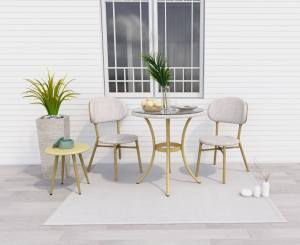 Curly Natural and White 2 Seater Rattan Outdoor Bistro Set