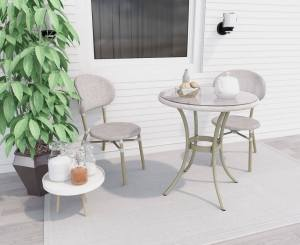 Curly White 2 Seater Rattan Outdoor Bistro Set