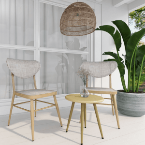 Nico Natural and White 2 Seater Balcony Set