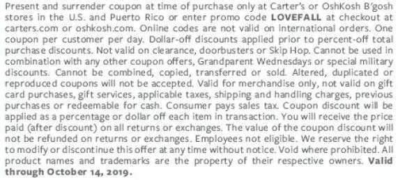 Carters sale 50% off