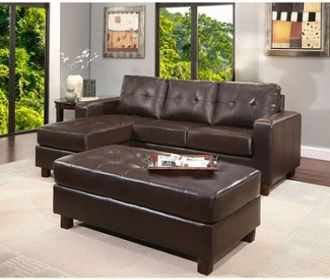 Buy Claire Leather Reversible Sectional & Ottoman (Ships Free) for $599