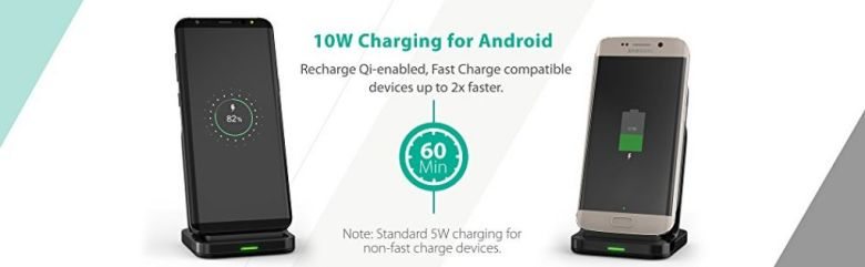 Amazon.com: Wireless Charging Stand RAVPower 2 Coils 7.5W Fast Wireless Charger for iPhone X, 8 & 8 Plus with HyperAir Technology, 10W Qi for Galaxy S9, S9+, S8 & Note 8 and All Qi-Enabled Devices: Cell Phones & Accessories