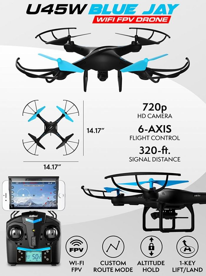 Amazon.com: Drone with Camera Live Video - Upgraded U45W Blue Jay WiFi FPV Remote Control HD Camera Drones with 3 Batteries Altitude Hold - 1 Key Control VR RC Drone Quadcopter: Toys & Games