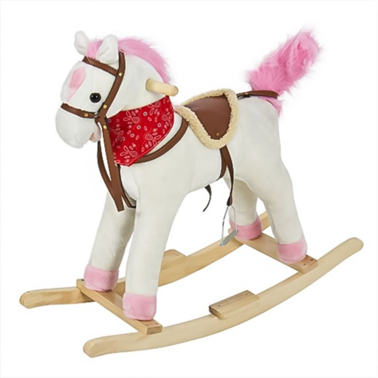 Best Choice Products Plush Rocking Horse Pony Ride On Toy w/ Sounds - White - Walmart.com