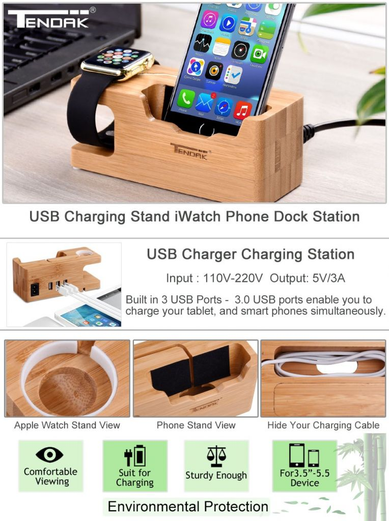 Amazon.com: Apple Watch Charging Stand - Tendak Apple Watch Phone Standwith 3 USB Port Bamboo Wood USB Charging Station for 38mm and 42mm Apple Watch & iPhone 6 6 plus 5S 5 7 7 plus and Other Smartphone: Cell Phones & Accessories