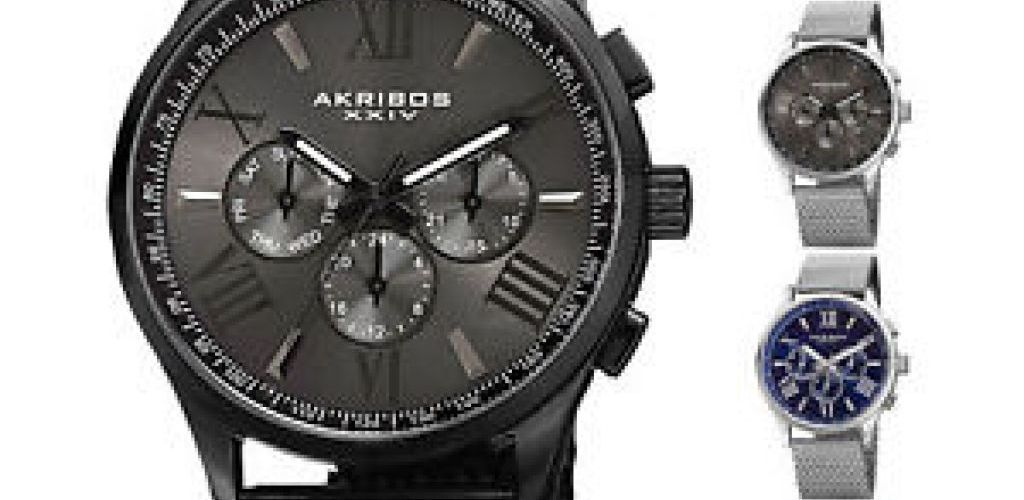 Buy Men's Akribos XXIV AK844 Multifunction Day Date Stainless Steel Mesh Watch for $39.99 (Was $695.00)