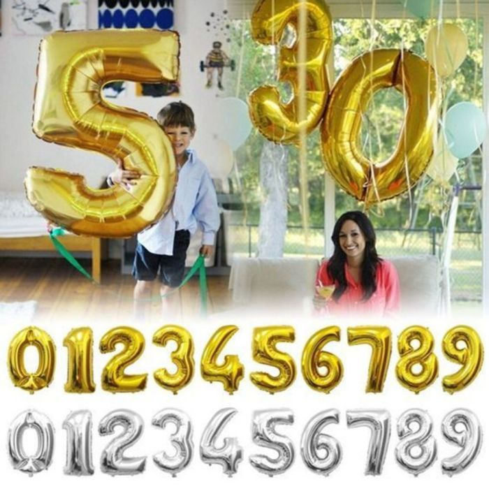 32inch Gold Silver Number Foil Balloons Digit air Ballons Happy Birthday Wedding Decoration Letter balloon Event Party Supplies-in Ballons & Accessories from Home & Garden on Aliexpress.com | Alibaba Group