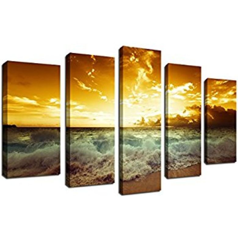 Buy Large 5 Pieces Wall Art Ocean Waves Beach Sunset Painting for ...