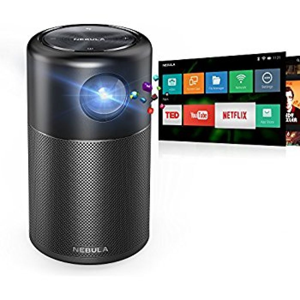 """Amazon.com: Nebula Capsule Smart Mini Projector, by Anker, Portable 100 ANSI lm High-Contrast Pocket Cinema with Wi-Fi, DLP, 360° Speaker, 100"""" picture, Android 7.1, 4-Hour Video Playtime, and App: Electronics"""