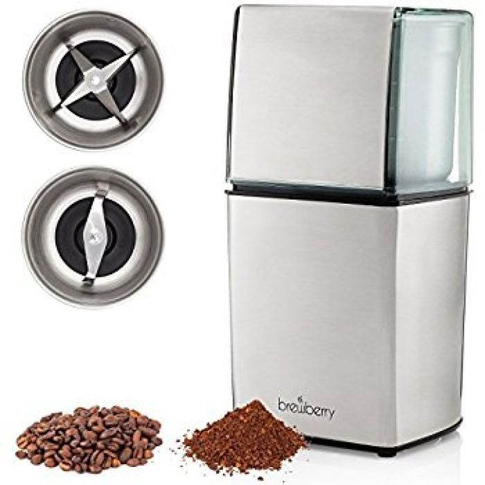 Amazon.com: Brewberry Elite Series Electric Coffee Grinder, Espresso and Coffee Mill, Grinds Seeds, Spices, Coffee Beans, Nuts, Herbs and Beans, 2 High Precision Blades and 2 Removable Stainless Steel Cups: Kitchen & Dining