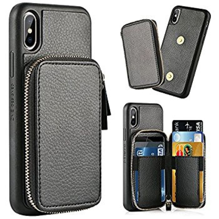 """Amazon.com: iPhone X Wallet Case , iPhone X Case with Card Holder , ZVE iPhone X Case with Credit Card Holder Slot Detachable Leather Wallet Case Handbag Shockproof Cover for Apple iPhone X / 10 5.8""""(2017)-Black: Cell Phones & Accessories"""
