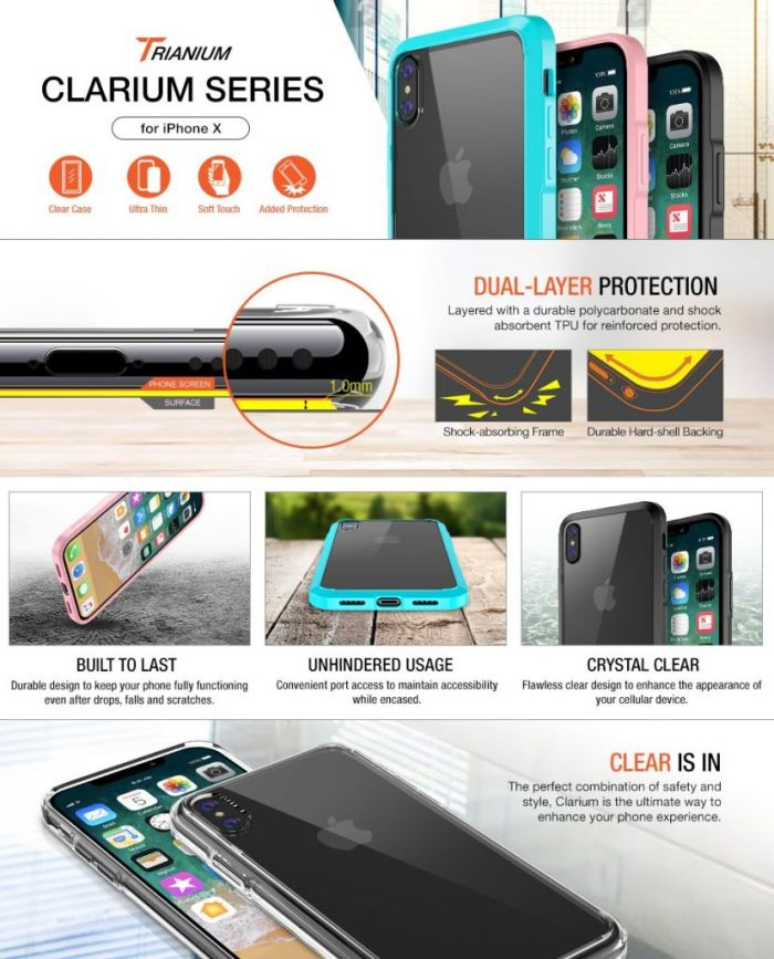 Amazon.com: iPhone X Case, Trianium [Clarium Series] iPhone X Clear Case w/ Reinforced TPU Bumper Hybrid Cushion +Scratch Resistant / Enhanced Hand Grip / Hard Back Panel Cover for Apple iPhone X / 10 Phone 2017: Cell Phones & Accessories