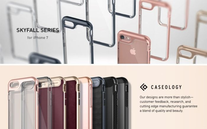 Amazon.com: iPhone 7 Case/iPhone 8 Case, Caseology Skyfall Series with Clear Slim Protective for Apple iPhone 7 (2016)/iPhone 8 (2017) - Rose Gold: Cell Phones & Accessories