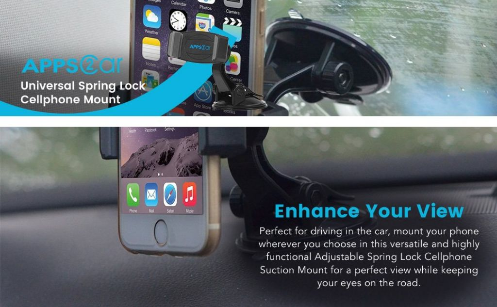 Amazon.com: APPS2Car UniversalSpring Lock Cellphone Suction Mount with Adjustable Arm, Sticky Base, and 360 Rotation for Windows, Windshield, or Dashboard: Cell Phones & Accessories