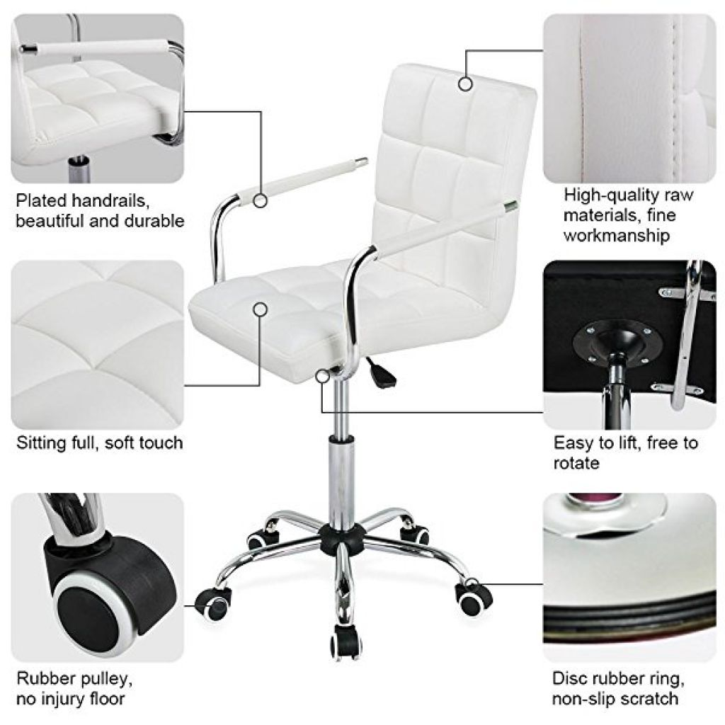 Amazon.com: Yaheetech Modern PU Leather Midback Adjustable Executive Office Chair-White: Kitchen & Dining