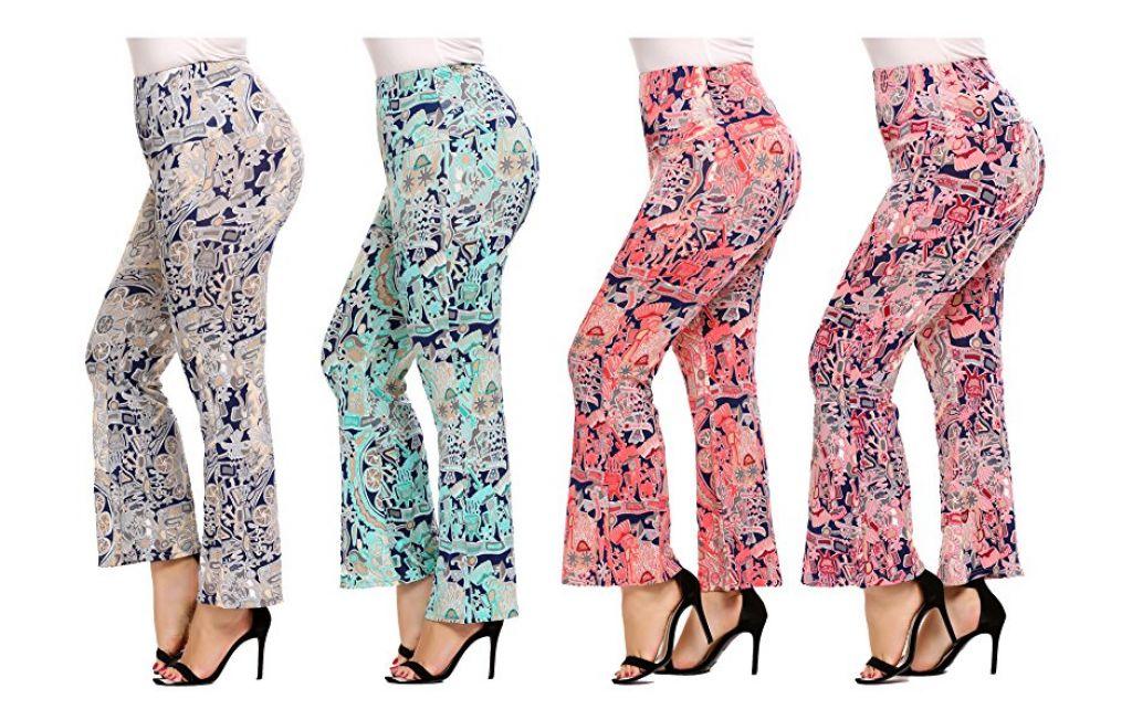 Buy Women Plus Size Floral Print Leggings High Waist Wide Leg Leggings for $7.99 (Reg : $15.99)