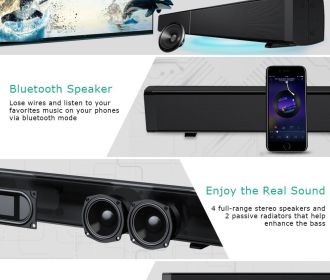 Buy Soundbar Wired and Wireless Bluetooth Audio Speaker for $56.99 (Was $74.99)