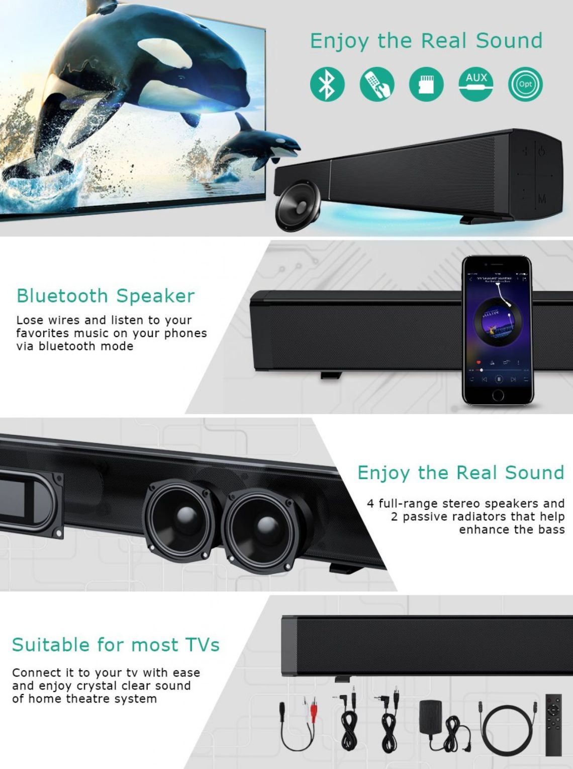 Amazon.com: Sound Bar for TV, Home Theater Surround Soundbar Wired and Wireless Bluetooth Audio Speaker, Wall Mountable, with Optical Cable Remote Control USB Input: Home Audio & Theater