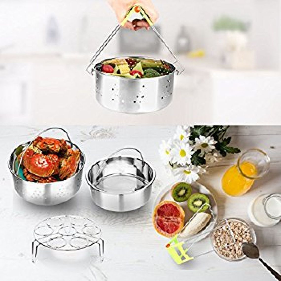 Amazon.com: Flourance Instant Pot Accessories for 6 qt 8 qt Includes:Steamer Basket, Insert Pan, Egg Steamer Rack, Jar Lifter.4 Sets of Pressure Cooker Accessories, Stainless Steel: Kitchen & Dining