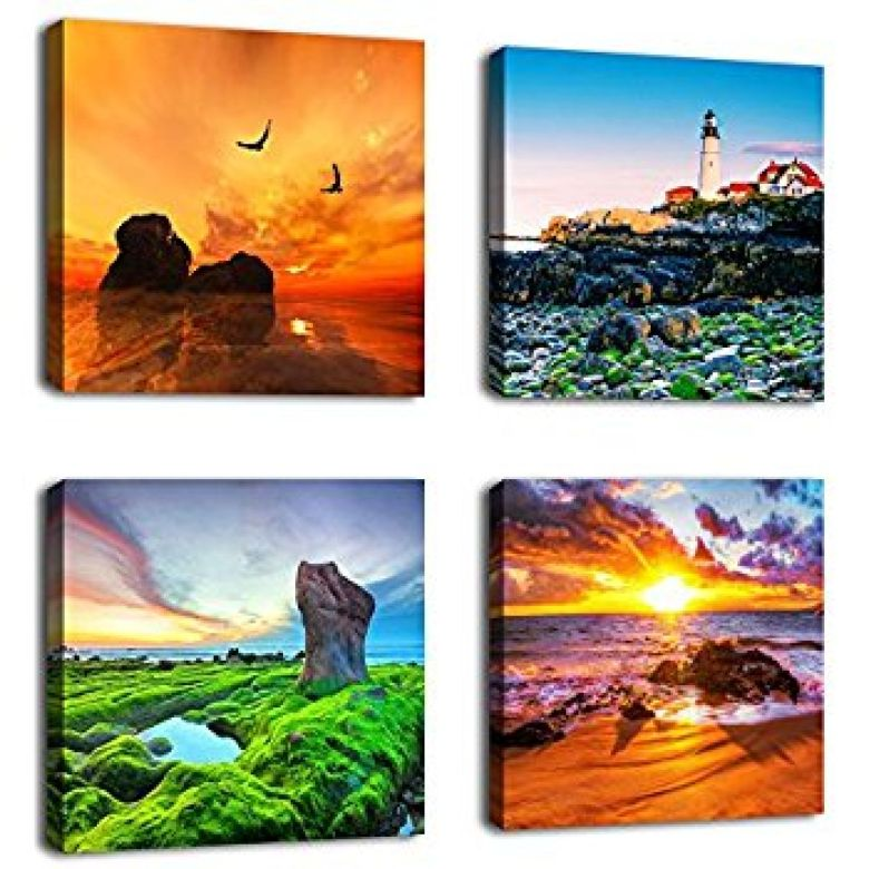 """Amazon.com: Canvas Wall Art Beach Sunset Ocean Themes Wall Decor 12"""" x 12"""" x 4 Pieces Canvas Pictures Sea Artwork Contemporary Nature Pictures Giclee Prints for Home Decoration: Posters & Prints"""