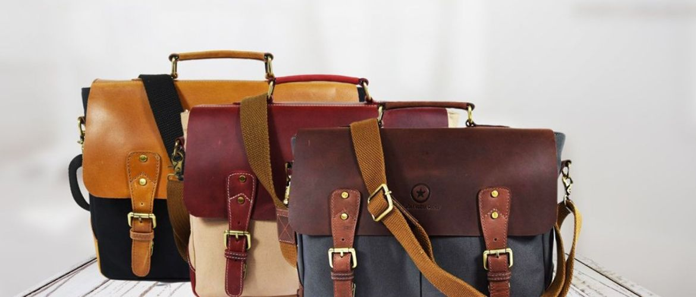 "Buy 14.5"" Vintage Handmade Leather Canvas Messenger Bag for $37.49 (Was $49.99)"