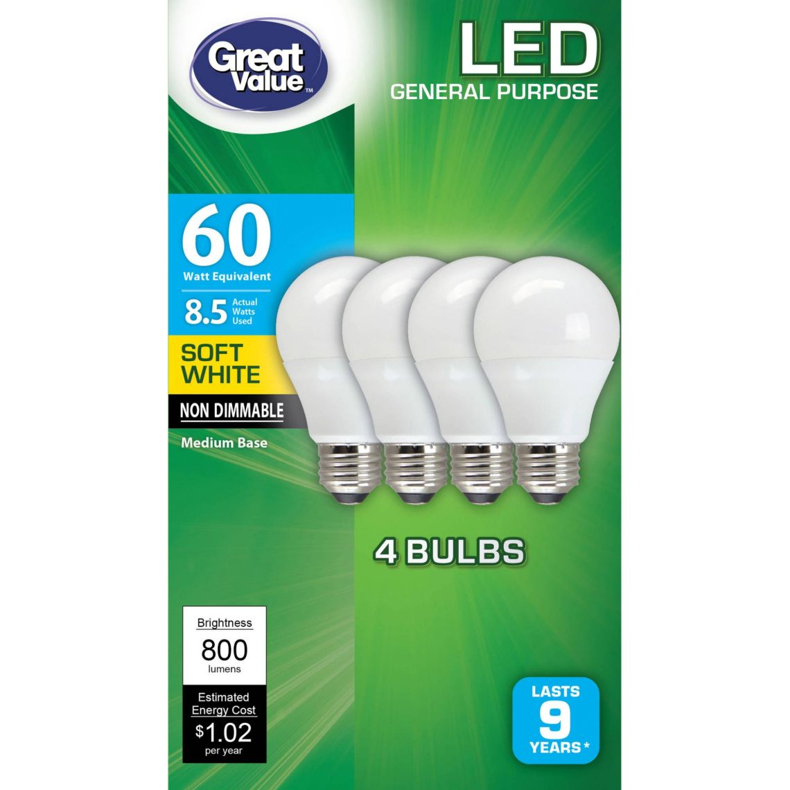 Great Value LED Light Bulbs, 8.5W (60W Equivalent), Soft White, 4-count - Walmart.com