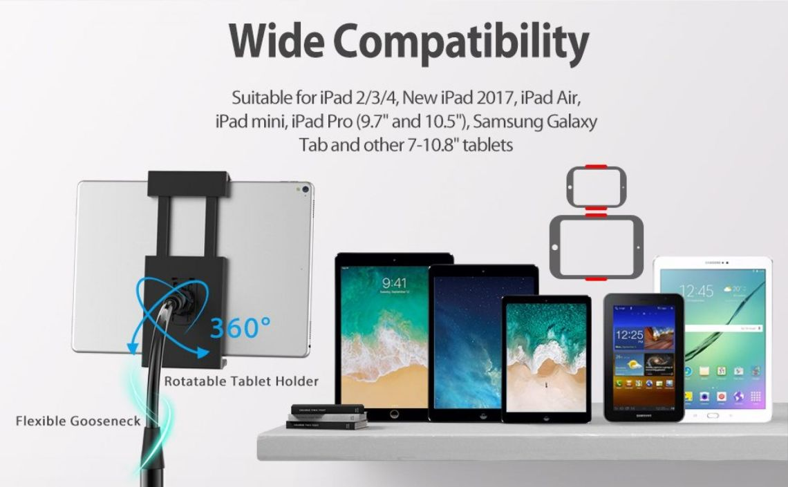 Amazon.com: JETech Floor Stand Height-Adjustable Gooseneck with Toilet Paper Roll Holder for 7-11.8 Inch Tablets iPad Galaxy Tab: Computers & Accessories