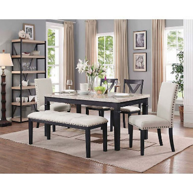 Bradley 6-Piece Dining Set, Table, 2 Upholstered Side Chairs, 2 X-Back Side Chairs & Bench - Sam's Club