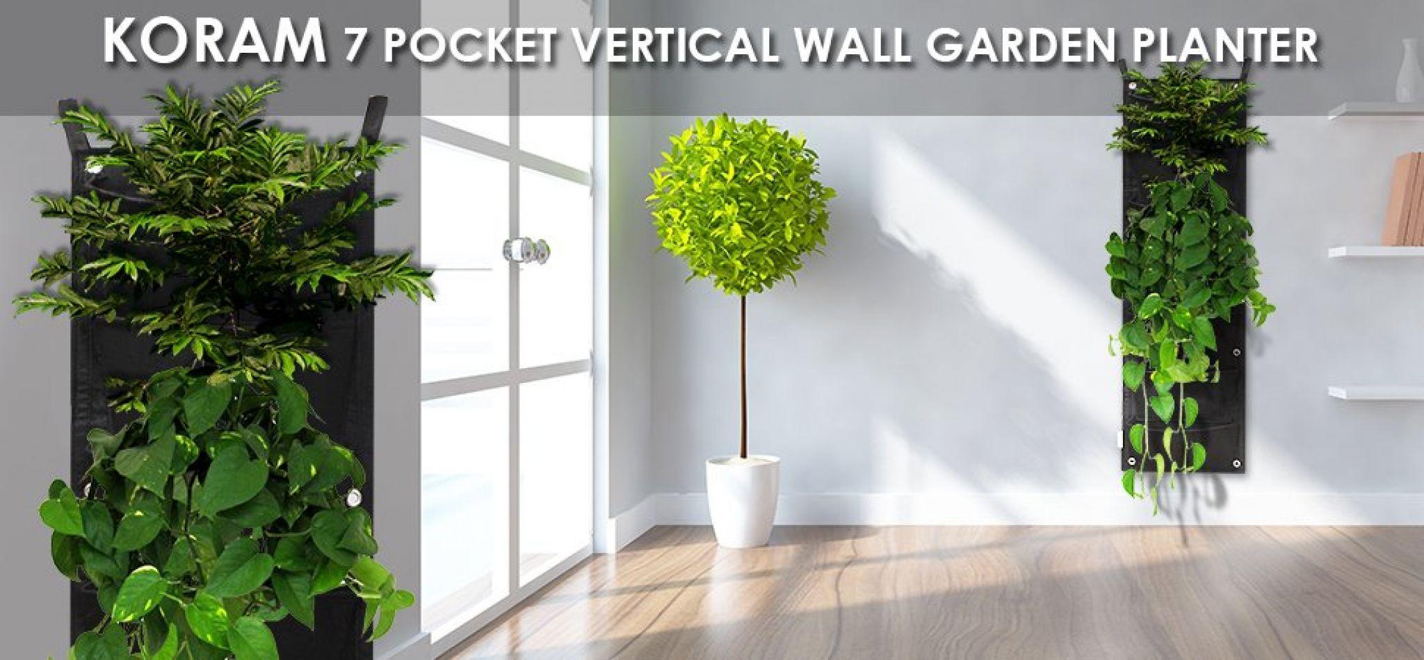 Amazon.com: KORAM 7 Pockets Vertical Garden Wall Planter Living Hanging  Flower Pouch Green