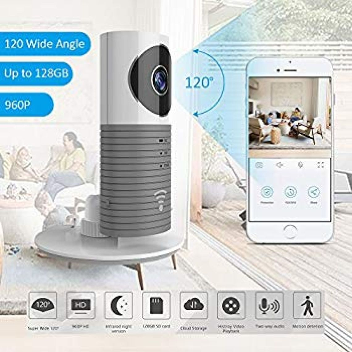 Amazon.com : TriVision Cloud Cam, HD 960P Indoor Wireless IP Security Camera with Motion Sensor, IR Night Vision, Wide Angle for Home/Office/Baby/Pet Monitor with Apple iOS, Android App : Camera & Photo